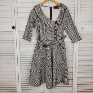 Voodoo Vixen Houdstooth Vintage Jacket Dress